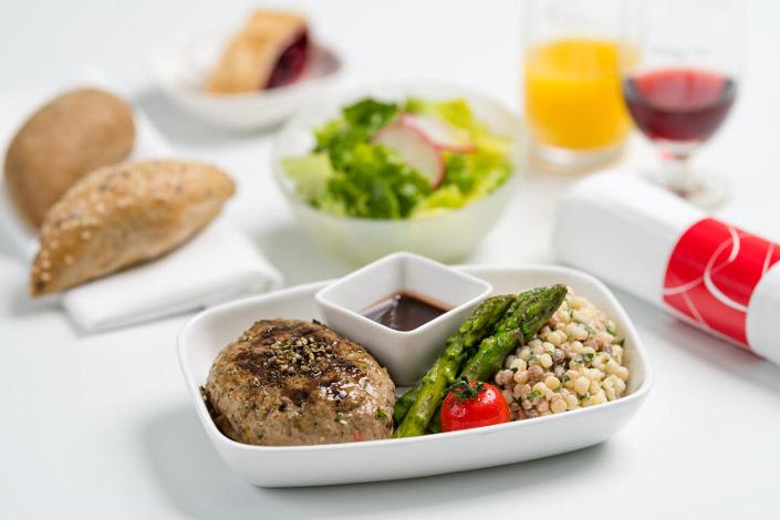 Gourmet Menu - Hot Beef Menu served aboard Czech Airlines flights