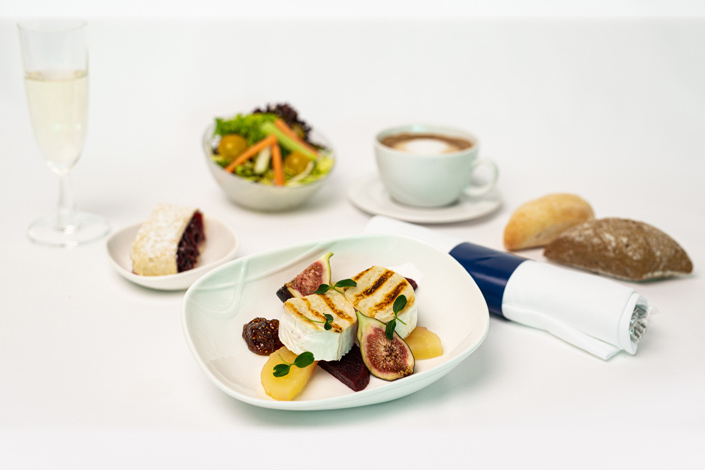 Gourmet Menu - Cold Goat Cheese Menu served aboard Czech Airlines flights