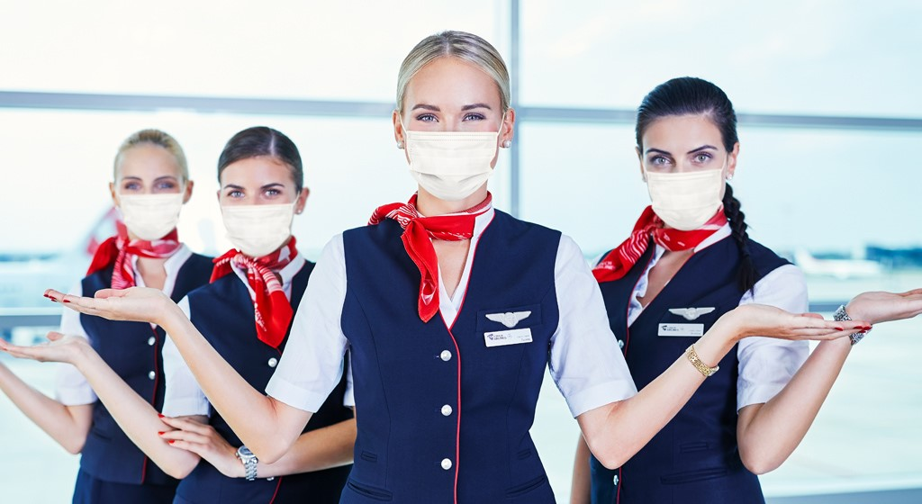 Czech Airlines crew members with face mask