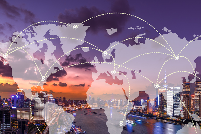 A world map and a network showing the search for a piece of lost baggage with an evening city skyline in the background